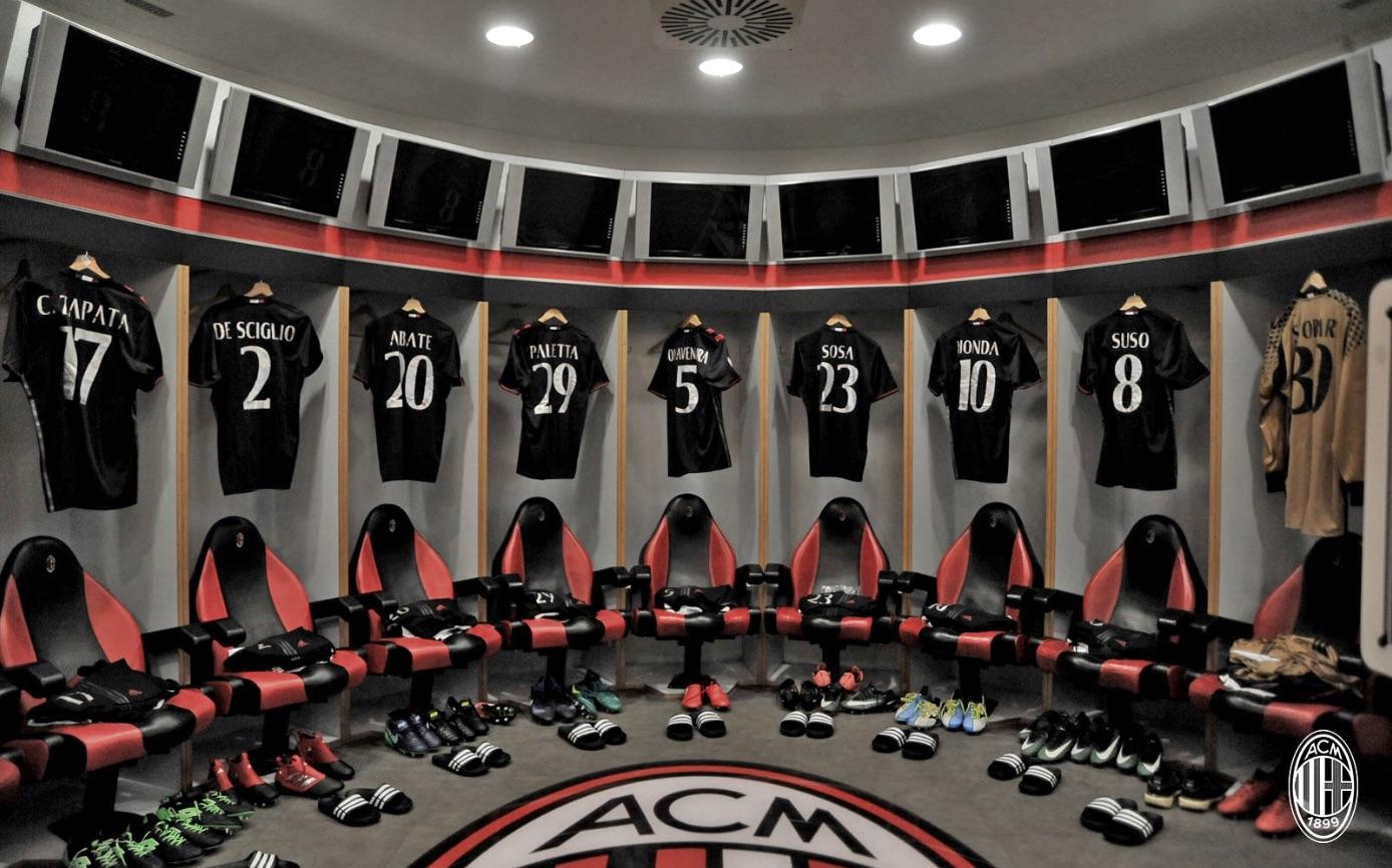 Lo spogliatoio del Milan prima del match di Coppa Italia contro il Torino. Fonte foto: A.C. Milan