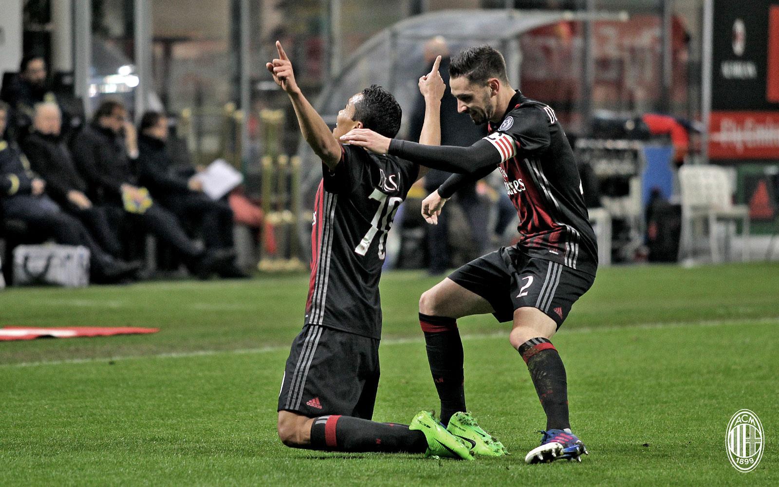 L'esultanza di Bacca durante Milan-Chievo