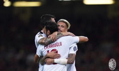 Castillejo festeggia il gol al Principality Stadium contro il Manchester United. Fonte: acmilan.com