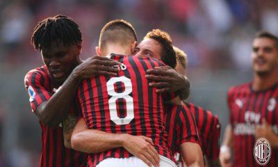 Esultanza Milan alla rete di Calhanoglu. Fonte: acmilan.com