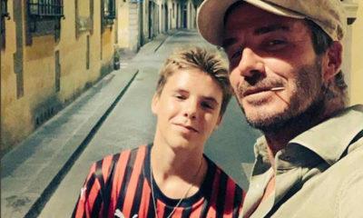 David Beckham con il figlio Cruz tra le vie di Firenze.